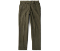 Panos Slim-Fit Cotton-Blend Dobby Trousers