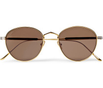 Round-frame Silver And Gold-tone Sunglasses