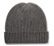 Watchman 2 Striped Ribbed Cashmere Beanie