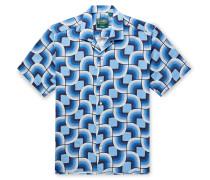 Camp-Collar Printed Linen Shirt