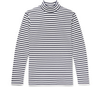 Striped Cotton-jersey Rollneck T-shirt