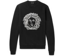 Embroidered Cotton-blend Jersey Sweatshirt - Black