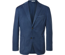 Blue Slim-fit Unstructured Wool-twill Suit Jacket