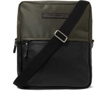 Full-Grain Leather and Canvas Messenger Bag