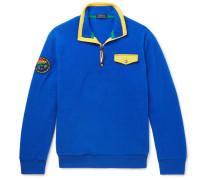 Contrast-trimmed Fleece Half-zip Sweatshirt - Royal blue