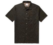 Leopard-Print Slub Cotton Shirt