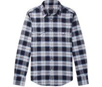 Micky Checked Cotton-flannel Shirt - Blue