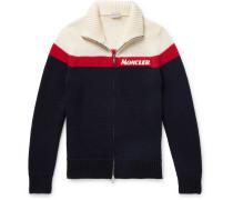 Slim-fit Colour-block Virgin Wool Zip-up Cardigan - Navy