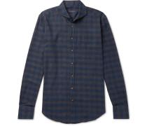 Slim-fit Cutaway-collar Checked Cotton-flannel Shirt