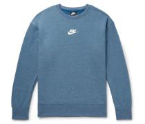 Sportswear Heritage Mélange Loopback Cotton-blend Jersey Sweatshirt - Blue