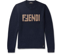 Slim-fit Logo-intarsia Cashmere Sweater - Navy