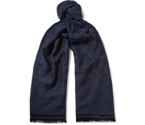 Wool And Silk-blend Jacquard Scarf - Navy