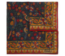 Printed Wool And Silk-blend Pocket Square - Navy
