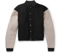 Appliquéd Suede-Panelled Wool-Blend Bomber Jacket