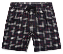 Long-length Checked Swim Shorts - Navy