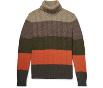Striped Cable-knit Wool And Cashmere-blend Rollneck Sweater