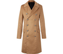Slim-fit Double-breasted Faux Suede Coat
