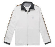 Webbing and Shell-Trimmed Mélange Cotton-Blend Jersey Track Jacket
