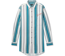 Oversized Button-down Collar Striped Cotton-twill Shirt - Blue
