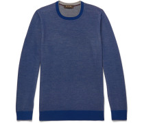 Contrast-tipped Mélange Wool And Cashmere-blend Piqué Sweater