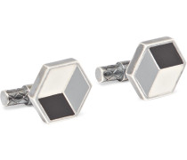 Sterling Silver And Enamel Cufflinks - Silver