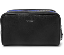 Burlington Two-tone Full-grain Leather Wash Bag - Black