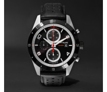 Timewalker Automatic Chronograph 43mm Stainless Steel, Ceramic And Leather Watch - Black