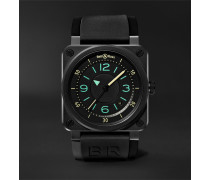 Br03-92 Automatic 42mm Ceramic And Rubber Watch - Black