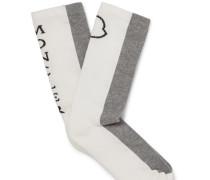 Colour-block Ribbed Stretch Cotton-blend Socks - Gray