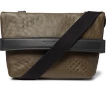 Textured-Leather Messenger Bag