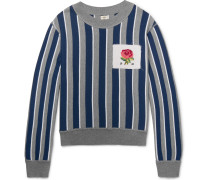 Oversized Appliquéd Striped Cotton And Wool-blend Sweater