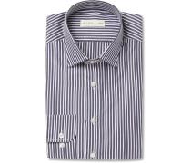 Navy Slim-fit Striped Cotton-poplin Shirt