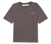 Logo-print Distressed Cotton-jersey T-shirt - Gray
