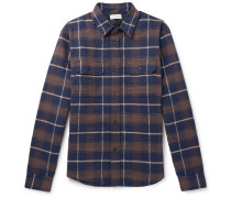 Checked Cotton-flannel Padded Overshirt - Blue