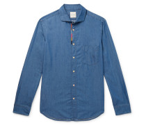 Soho Embroidered Cotton And Tencel-blend Chambray Shirt - Blue