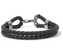 Intrecciato Leather Oxidised Silver-tone Bracelet - Black