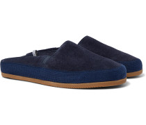 + Hamilton and Hare Shearling-Lined Suede Backless Slippers