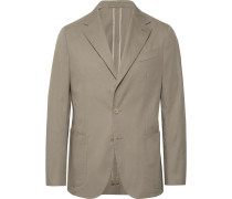 Stone Butterfly Slim-fit Unstructured Cotton-blend Suit Jacket - Stone