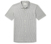 Slim-Fit Camp-Collar Striped Cotton-Blend Shirt