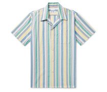 Camp-Collar Indigo-Dyed Striped Cotton Shirt