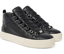 Arena Full-grain Leather High-top Sneakers