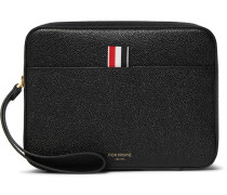 Striped Grosgrain-Trimmed Pebble-Grain Leather Pouch
