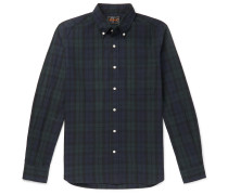 Button-Down Collar Checked Cotton and Linen-Blend Flannel Shirt