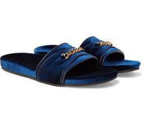 Churchill Chain-trimmed Velvet Slides