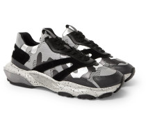 Valentino Garavani Bounce Leather, Suede And Mesh Sneakers - Silver