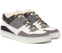 Panelled Nubuck And Leather Sneakers