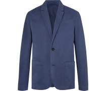 Blue Unstructured Garment-Dyed Peached Cotton-Twill Suit Jacket