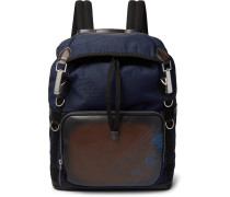 Scritto Leather and Jacquard Backpack