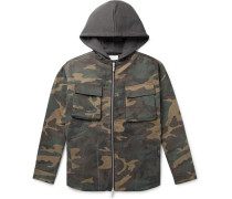 Jersey-Trimmed Camouflage-Print Cotton-Twill Hooded Jacket