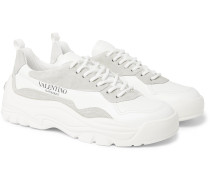 Valentino Garavani Gumboy Suede-Trimmed Leather Sneakers